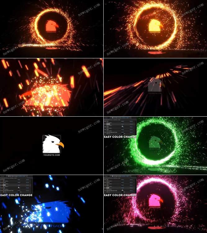 更新VFX Bundle】炫酷火花圆圈中的标志展示特效AE模板_打包_下载