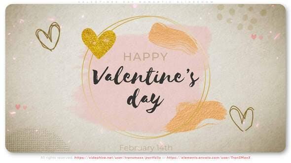 浪漫情人节爱心照片相册视频片头 Valentines Day Romantic Slideshow