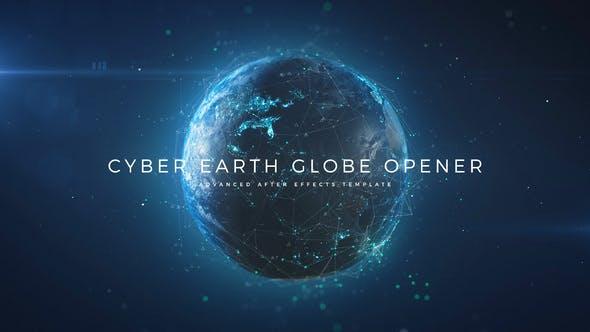 科技感三维地球开场动画 Cyber Earth Globe Opener