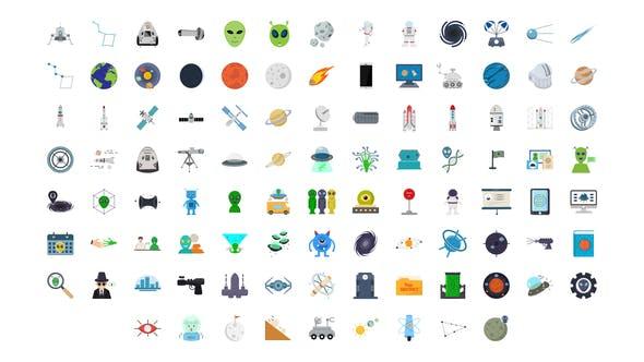 100组外太空宇宙图标ICON动画AE模板 100 Space & Universe Icons