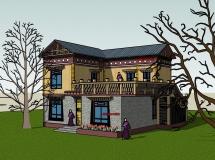 藏式别墅外观-2296K草图大师su模型