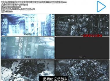 惊悚恐怖场景爆裂墙壁闪电毛刺渲染黑白危机末日效果背景视频素材