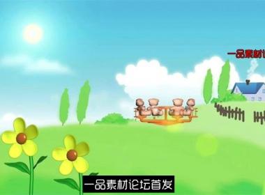 卡通儿童草原太阳花摇摆旋转椅子LED动态背景视频素材