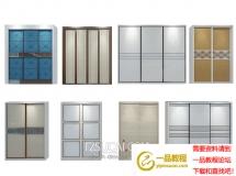 3D衣柜模型  现代衣柜门板组合3d模型下载