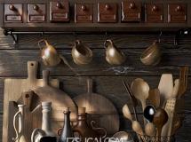 3D厨具模型 现代实木器皿碗勺餐具组合3D模型