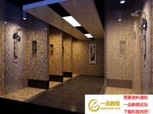 开放式淋浴房室内模型