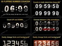 翻转计时器动画的制作AE模板,模拟了机场、赛场的翻牌效果