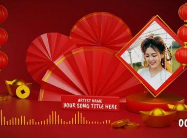 中国风扇子灯笼照片音乐波形动画 Chinese Music and Podcast Visual