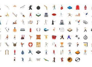 AE模板-武术功夫图标ICON动画 100 Martial Arts Icons