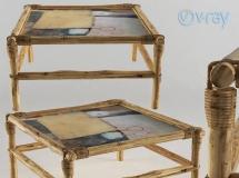 3D茶几模型  生态自然竹子茶几3D模型