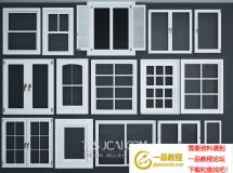 3D门窗模型  现代实木窗户下载
