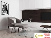 3D沙发椅模型 港式后现代单人休闲椅 3D模型下载