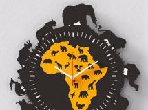 3D钟表挂件  非洲动物图案时钟3D模型下载