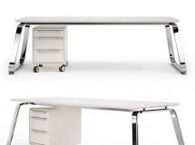 3D办公桌椅   不锈钢办公桌模型下载