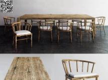 3D桌椅组合  复古原木餐桌椅组合高品质 3D模型下载