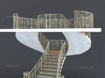 3D楼梯模型  欧式铁艺楼梯3D模型下载