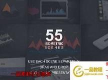 三维等距信息数据场景动画 55 Isometric Scenes Pack Infographics Mock-ups