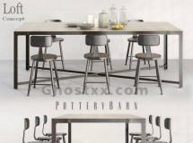 3D桌椅模型  工业风餐厅桌椅组合3Dmax模型下载