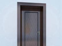 3D大门模型  黑胡桃木色木门模型 高品质 3D模型下载