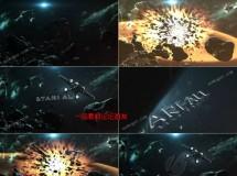 震撼星球爆炸的三维标志开场特效AE模板