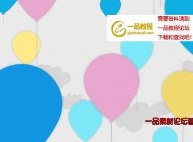 扁平风格彩色卡通气球上升的背景循环视频素材