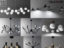 3D灯具模型  现代简约时时尚吊灯模型组合 吊灯高品质 3D模型下载