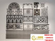各种风格铁艺雕花栏杆雕花3d模型下载