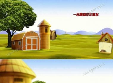 夏天美丽乡村的童话农场循环动画素材