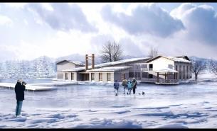 人在结冰的湖面上行走 冬季小屋