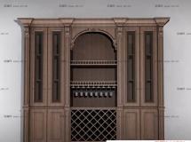 3D酒吧柜模型 原木酒吧柜, 欧式实木酒柜3D模型高品质 3D模型下载