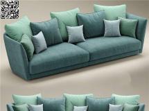 3D沙发模型 蓝色布艺双人沙发 模型高品质