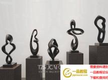 3D陈设模型  现代黑色艺术雕塑摆件下载