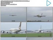 [4K]大型客机运输乘客飞机起飞降落过程停机坪滑翔高清视频实拍
