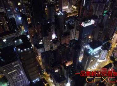 夜晚鸟瞰俯视繁华城市楼房高清视频素材 Aerial View Of City At Night