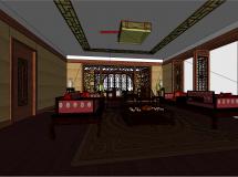 中式书房SketchUp模型-91M草图大师su模型