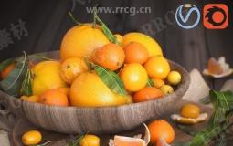 鲜美橙色橘子小柿子等水果蔬菜3D模型合集