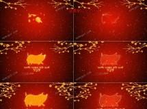 猪年新年春节的喜庆祝福开场动画AE模板,2款入