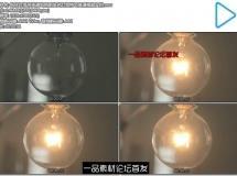 钨丝灯泡吊挂通电照明发光灯泡特写高清视频实拍