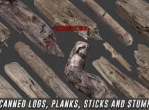 Cubebrush – Scanned Logs, Planks, Sticks and Stumps