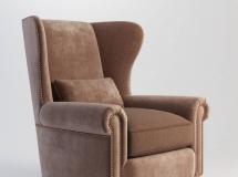 美式绒布沙发单椅3Dmax模型下载