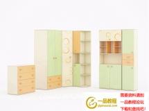 3D衣柜模型  时尚简约果绿色组合柜3D模型下载