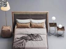 3D床铺模型  现代双人床床头柜落地灯组合高品质 3D模型下载