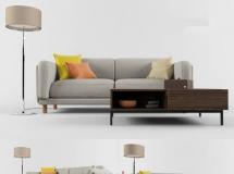 3D沙发模型 茶几落地灯沙发组合模型 下载