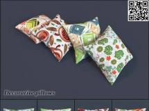 漂亮的花布沙发抱枕3dsky模型 高质量3D模型