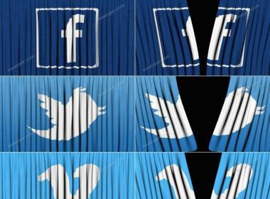 脸书等社交媒体的帘幕拉开视频素材,4款入