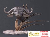 3D摆件模型  中式牛头雕塑摆件下载