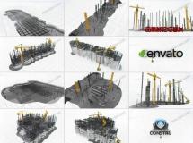 企业标志的建筑构造过程,创意logo动画AE模板