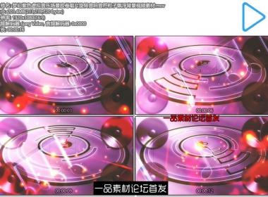 梦幻紫色虚拟音乐场景胶卷唱片旋转音响音符粒子飘浮背景视频素材