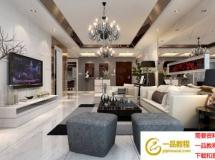 宽敞豪华客厅模型效果图