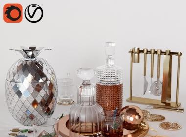托盘,糖果,玻璃杯,饮料模型 高品质模型下载